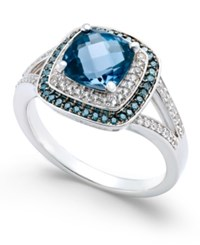 Macy's London Blue Topaz 1 3 4 Ct. T.W. And Diamond 1 4 Ct. T.W. Double Halo Ring In 14K White Gold