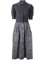 Christian Dior Vintage Polka Dot And Floral Print Combo Dress Blue