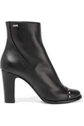 Karl Lagerfeld Studded Leather Ankle Boots Black