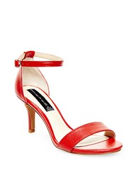 Steve Madden Vienna Leather Open Toe Strappy Sandals Red