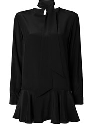 Dresscamp Neck Tie Peplum Blouse Black