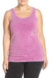 Plus Size Women's Hard Tail Long Scoop Neck Tank Mineral Wash Berry