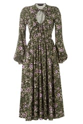 Rochas Printed Midi Dress With Cut Out Front Green