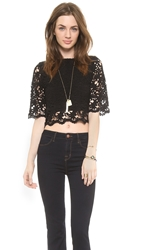 Nightcap Clothing Daisy Crochet Crop Top Black