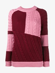 House Of Holland Merino Wool Patchwork Sweater Pink Burgundy