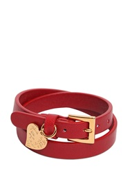 Valentino Heart Wrap Around Leather Bracelet Red Valentino