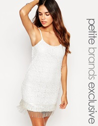 True Decadence Petite Sequin Cami Dress With Beaded Hem White