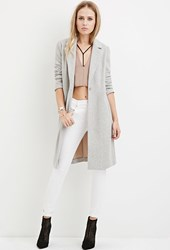 Forever 21 Longline Wool Blend Coat Heather Grey Taupe