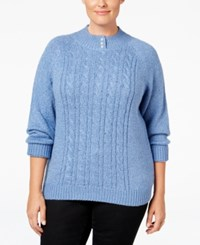 Karen Scott Plus Size Cable Knit Mock Neck Sweater Only At Macy's Lux Blue