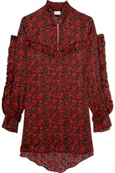 Magda Butrym Sicily Floral Print Washed Silk Mini Dress Red