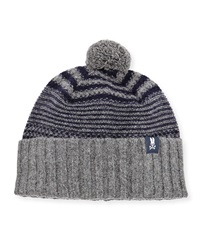 Psycho Bunny Craig Striped Pompom Hat Cliff Gray Navy