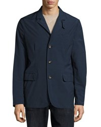Luciano Barbera Zip Front Tech Blazer Navy