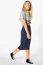 Boohoo Jersey Bodycon Midi Skirt Midnight