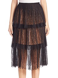 Michael Kors Tiered Chantilly Lace Skirt Black