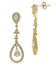 Lord And Taylor Cubic Zirconia Teardrop Chandelier Earrings Gold