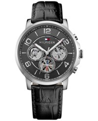 Tommy Hilfiger Men's Sophisticated Sport Black Leather Strap Watch 44Mm 1791289