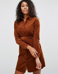 Brave Soul Belted Shirt Dress Chocolate Brown