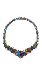Iosselliani Multi Stone Gunmetal Necklace Gunmetal Multi