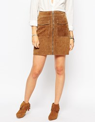 Pepe Jeans Zip Front 70S Suede Skirt Brown