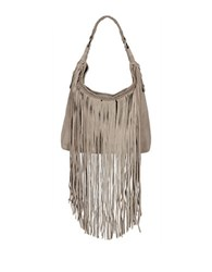 Sondra Roberts Suede Fringed Hobo Bag Taupe