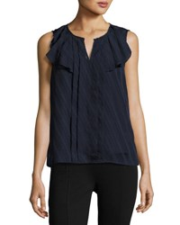 Nanette Lepore Split Neck Lace Seam Top Dark Navy