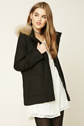 Forever 21 Hooded Faux Fur Zippered Jacket Black