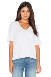 Heather Drop Shoulder V Neck Tee Gray