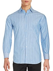 Tailorbyrd Long Sleeve Striped Shirt Blue