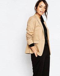 New Look Cotton Tailored Blazer Camel Tan
