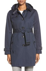 Petite Women's Michael Michael Kors Single Breasted Raincoat Navy