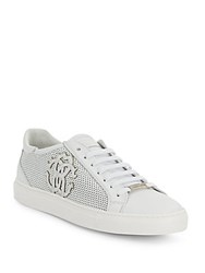 Roberto Cavalli Perforated Leather Sneakers White