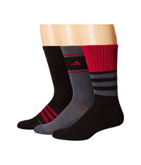 Adidas Cushioned Assorted Color 3 Pack Crew Socks Black Onix Power Red Men's Crew Cut Socks Shoes Multi