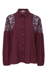 Sonia Rykiel By Lace Shoulder Button Up Blouse Burgundy