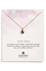 Women's Dogeared 'Love Gem' Semiprecious Stone Pendant Necklace Amethyst Gold