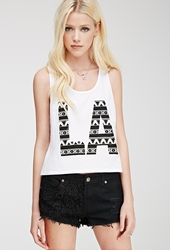 Forever 21 La Graphic Tank White Black