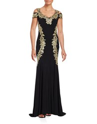Betsy And Adam Embroidered Floral Trumpet Gown Black Gold