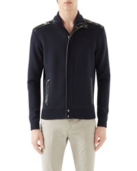 Gucci Navy Full Zip W Leather Trim And Tonal Logo