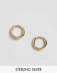 Asos Gold Plated Sterling Silver 7Mm Chunky Hoop Earrings Gold Plated