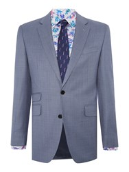 New And Lingwood Men's Midhurst Sb2 Notch Lapel Textured Suit Jacket Blue