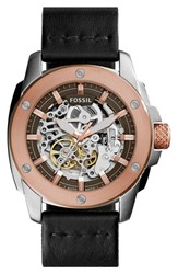 Women's Fossil 'Modern Machine' Skeleton Dial Leather Strap Watch 50Mm Black Rose Gold