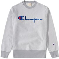 Champion Reverse Weave Script Logo Crew Sweat Grey