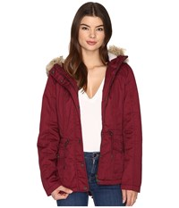 Only Kate Short Canvas Parka Windsor Wine Women's Coat Burgundy