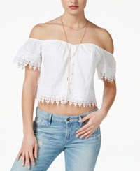 Guess Eyelet Off Shoulder Corset Top True White