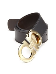 Salvatore Ferragamo Adjustable And Reversible Double Gancini Leather Belt Black