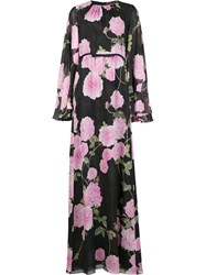 Giambattista Valli Floral Print Maxi Dress Black