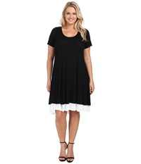 Karen Kane Plus Plus Size Layered Trapeze Dress Black Off White Women's Dress