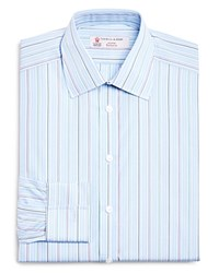 Turnbull And Asser Stripe Slim Fit Dress Shirt 100 Bloomingdale's Collection Blue Purple White