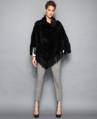 The Fur Vault Knitted Mink Fur Fringed Poncho Black