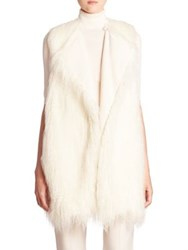 Theory Nyma Faux Fur Vest Ivory Black
