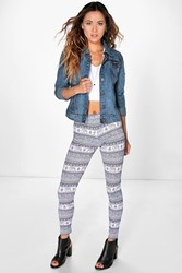 Boohoo Paisley Elephant Print Leggings Blue